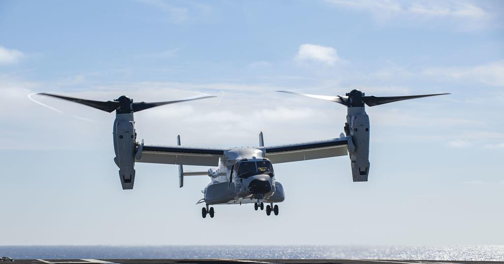 CMV-22B Osprey in maiden flight to an aircraft carrier | News | Flight  Global