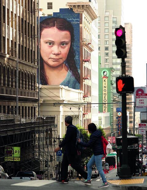 Mural of Swedish climate activist Greta Thunberg in San Francisco, California USA