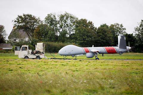 Elbit Systems Hermes 900 on the way to takeoff at Aberporth airport