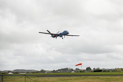 Elbit Systems Hermes 900 flying in unsegregated and uncontrolled airspace in alignment with the UK Civil Aviation Authority