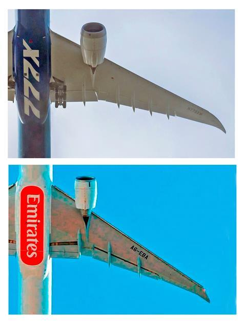 777X wing 777-300ER wing comparison