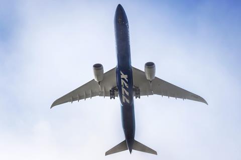Boeing 777X 777-9 first flight Belly