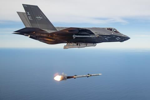 First live-fire test of an AIM-120 missile released from operational F-35