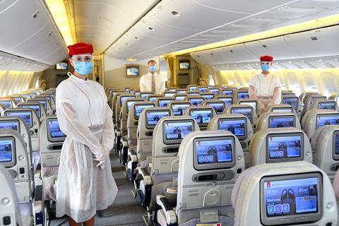 Emirates cabin crew PPE masks
