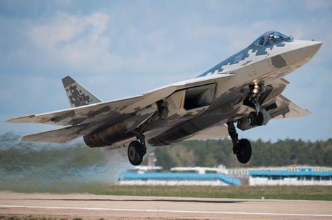 Sukhoi Su-57 taking off c UAC