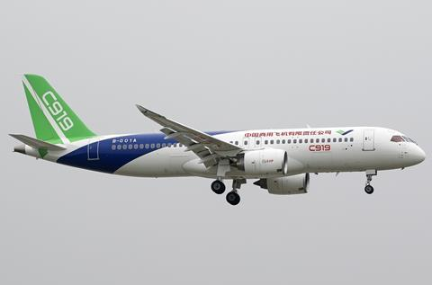 Comac C919 during its first flight in 2017 c Creative Commons