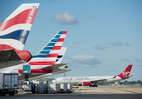 British Airways, American, Virgin aircraft at Heathrow Nov 18