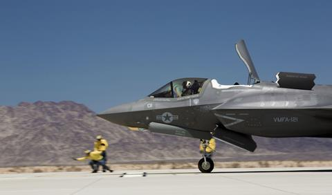 F-35B Lightning II with Marine Fighter Attack Squadron 121 based out of Marine Corps Air Station Yuma Ariz. performs a short takeoff