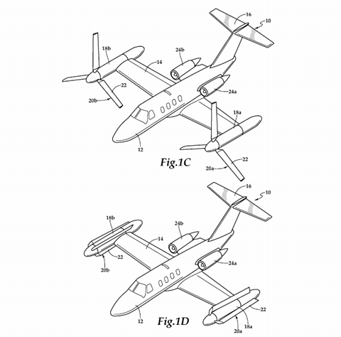 Diagram from 'Tiltrotor aircraft having rotary and nonrotary flight modes' patent published in 2017 c Bell and US Patent & Trademark Office