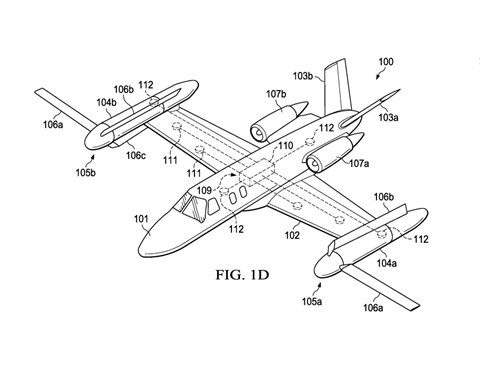 Diagram from Active sail blade application c Bell and US Patent & Trademark Office