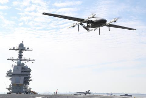 Skyways UAV, dubbed Blue Water UAS by the US Navy, lands on USS Gerald R Ford