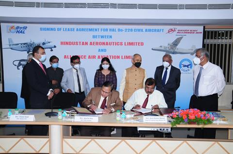 Signing of Lease Agreement between HAL and Alliance Air