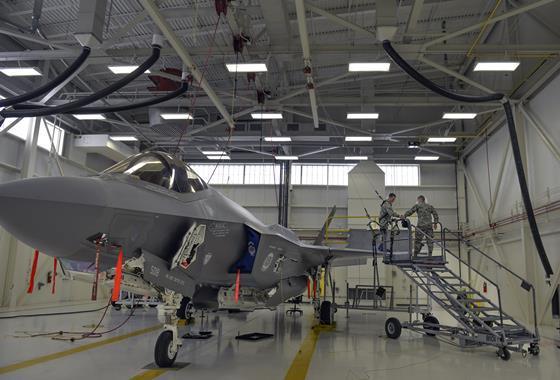 F-35A Lightning II maintenance at Eglin Air Force Base