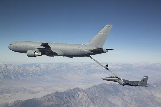 KC-46A Pegasus connects with an F-15 Strike Eagle for an aerial refueling test over California in 2018