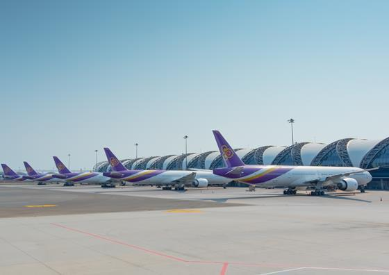 Thai Airways fleet at Bangkok airport May 2020, Shutterstock