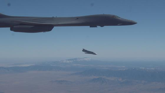 A B-1B Lancer releases a Joint Air-to-Surface Standoff Missile during an external release demonstration c USAF