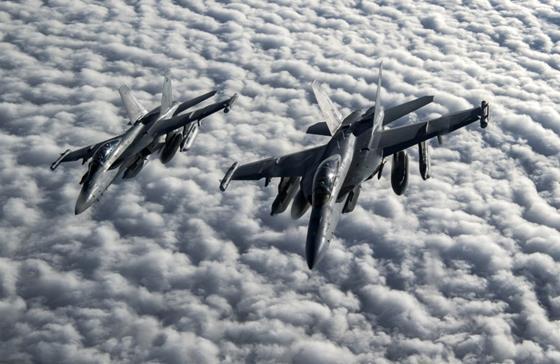 Two US Navy EA-18G Growlers over Afganistan