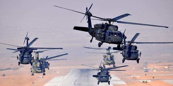 US Army UH-60 Black Hawks and CH-47 Chinooks c US Army