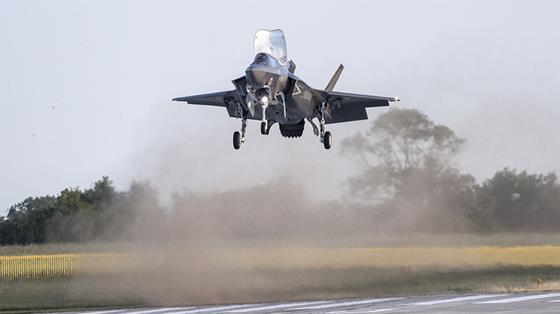 F-35B landing vertically