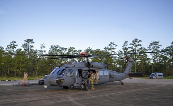 A HH-60W Jolly Green II lands on the pad on the range at Eglin Air Force Base for a day of weapons testing c USAF