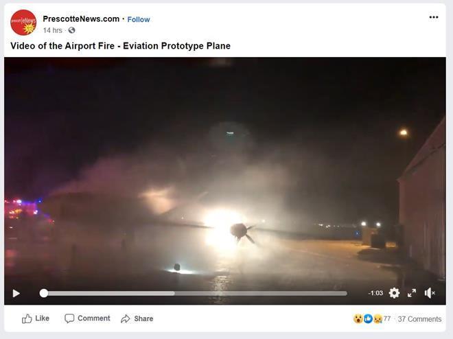 Eviation Alice fire at Prescott 012220 Presscot eNews