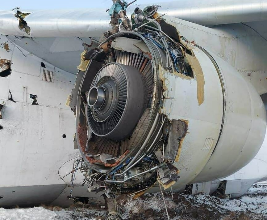 Engine-damaged An-124 lost multiple systems including brakes and thrust control